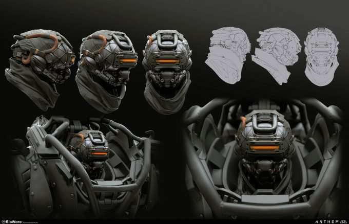 Anthem BioWare Game Concept Art Design Alex Figini colossus helm 01