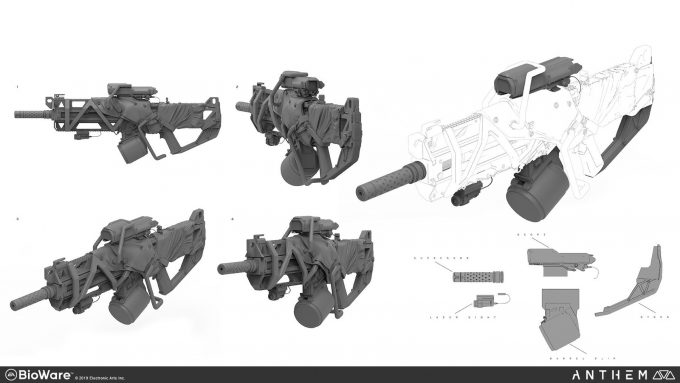 Anthem BioWare Game Concept Art Design Alex Figini weapons freelancer rifle mods 01