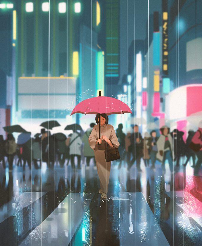 atey ghailan Tokyo rain
